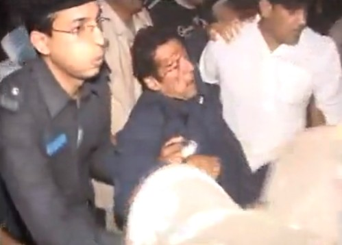 Legendary cricketer Imran Khan gets injured during a political campaign