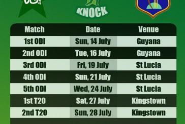 Pakistan vs West Indies Fixtures 2013