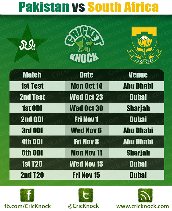 Pakistan vs South Africa Fixture 2013