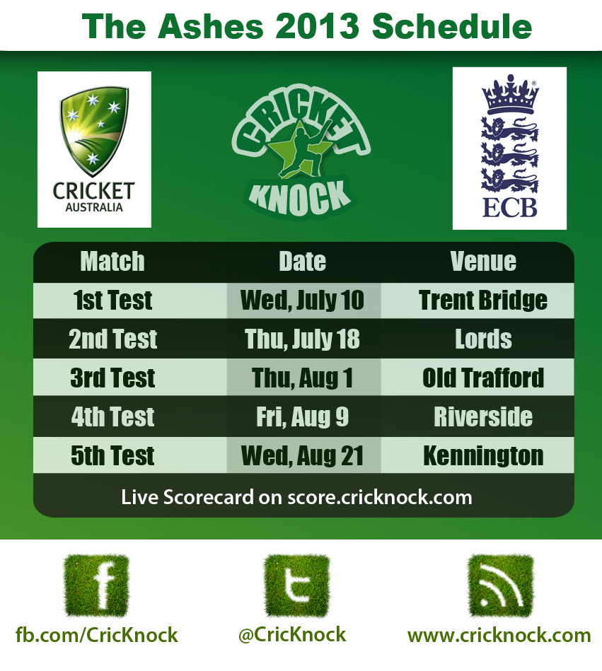 England vs Australia Ashes 2013 Fixtures
