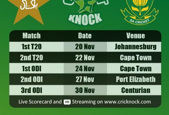 Pakistan Tour of South Africa Fixtures 2013