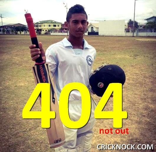 Brian Lara II - 14 years old Kirstan Kallicharan scores 404 not out