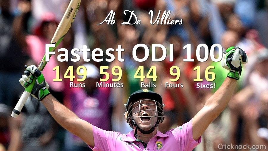 AB de Villiers Breaks Fastest ODI Century Record