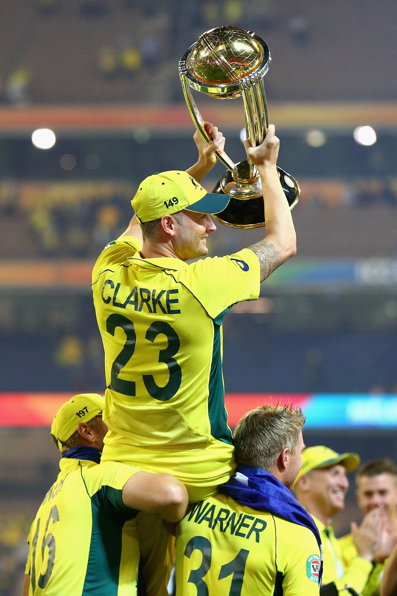 Micheal Clarke retires after giving Australia its 5th World Cup trophy.