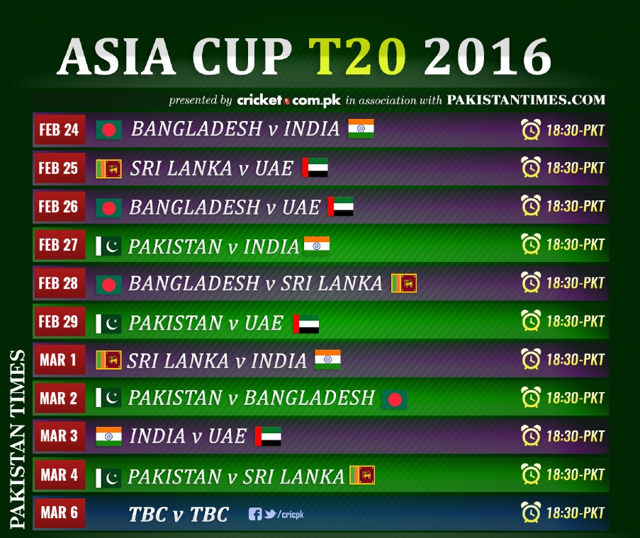 Asia Cup Fixtures